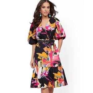 NY&C Graphic-Print Poplin Puff-Sleeve Wrap Dress